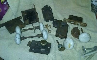 Large Lot of Vintage Antique Porcelain Door Knobs, Locks and Hardware /Keys