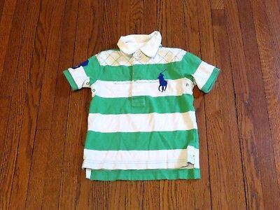 Boys' Polo Ralph Lauren Big Pony White Green Striped Rugby Toddler sz 12M