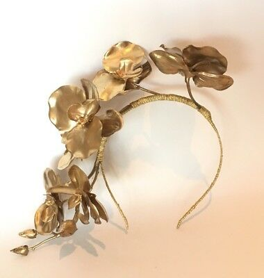 Gold Flowers Headband Fascinator Wedding Races Special Occasions