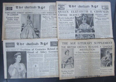 "3 collectors June 2nd & 3rd ""THE AGE"" newspapers- Queens coronation + supplement"