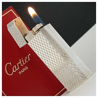 Briquet gaz * CARTIER Paris 5 faces + box * Silver.P Lighter-Feuerzeug-Accendino
