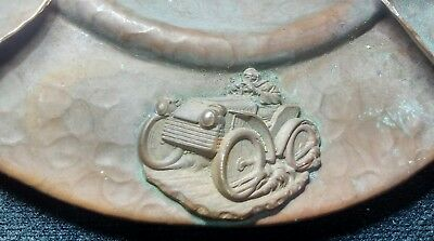 Antique Arts and Crafts Hammered Copper Ashtray w. Antique Cars.