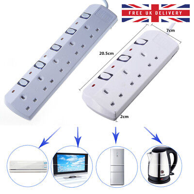 3 5 Way Gang UK Mains Plug Extension Lead Cable Surge Protected Socket Switch 3M