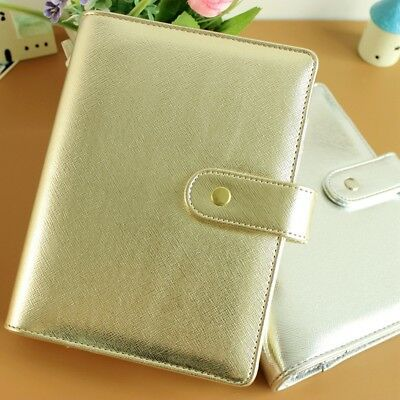 Silver Gold Refillable Daily Loose-leaf Filofax Planner Agenda Notepad Binder