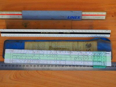 Vintage Old Mixed Lot Of Line Rulers, Tools Lot (H676)