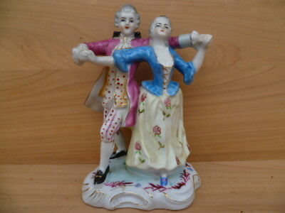 Old Early China Figure Of A Dancing Couple, Old Figurine (G635)