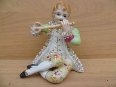 Old, Early Figure Of A Boy Playing Flute, Old Figurine (G638)
