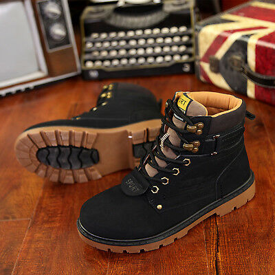 Mens Boots Waterproof Leather Hiking Walking Fashion Black Suede Boots Shoes