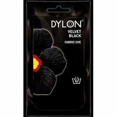Dylon Fabric Hand Dye 50g Velvet Black Textile Colour Clothes Changing Sachet