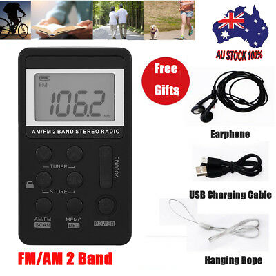 Mini Pocket Digital Battery Powered AM FM Radio Receiver w/Earphone LCD Display