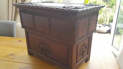 Vintage Burmese Wooden Storage Box / Chest / Heavy Carving Detail