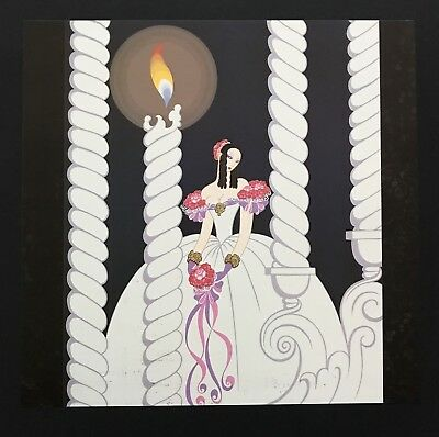 Vintage Art Book Plate ERTE Print Art Deco Fashion Red Hat Smoke White 01356