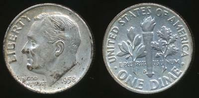 United States, 1958-D Dime, Roosevelt (Silver) - Extra Fine