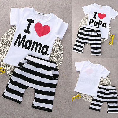 FATHER'S DAY Newborn Infant Baby Boy Cotton T-shirt+Pants 2PCS Outfit Set Summer