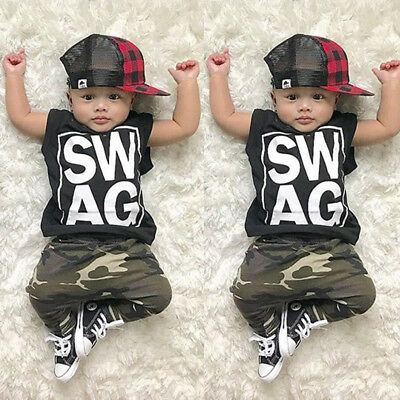 Cool Casual Toddler Baby Boys Sleeveless Top Camo Pants Outfits Clothes Summer M