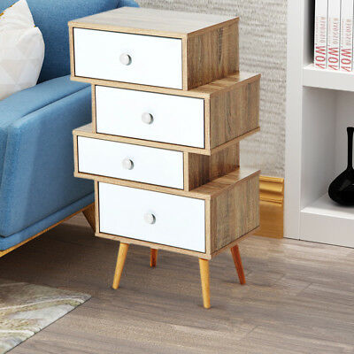 Chest of 4 Drawers Bedside Cabinet Nightstand Table Storage with Solid Wood Legs
