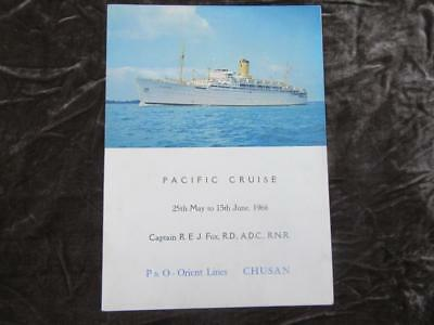 1950-1973 P&O Orient Lines M V Chusan British Ocean Liner Pacific Cruise Itinera