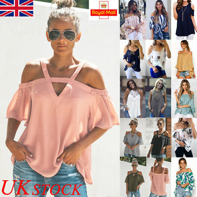 UK Womens Summer Casual Cold Shoulder Blouse Ladies Loose T Shirt Tops Plus Size