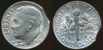 United States, 1966 Dime, Roosevelt (Clipped Planchit Error) - Uncirculated