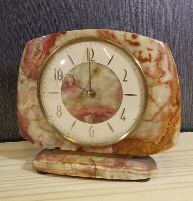 Vintage Smiths 8 day Floating Balance Stone Mantle Clock, Wind up, working