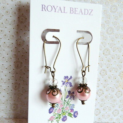 Victorian Vintage Wedding Style Pink Pearl Clear Crystal Bronze Earrings