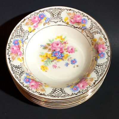 Edwin Knowles China Hostess DRESDEN FLOWERS(?) Roses Gold Filigree 7 Fruit Bowls