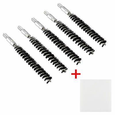 5 X Nylon Bristle Bore Cleaning Long Brush .280 cal 8x32 Thread with 50 Patches