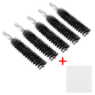 5 X Nylon Bristle Bore Cleaning Long Brush .357 cal 8x32 Thread with 50 Patches