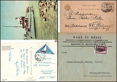 UNGARN: postal stationery card from IGLO, souvenier postcard and cover to  (575)