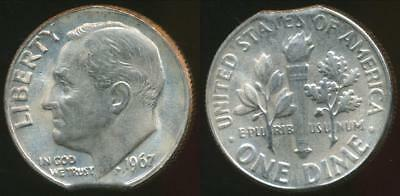 United States, 1967 Dime, Roosevelt (Clipped Planchit Error) - Uncirculated
