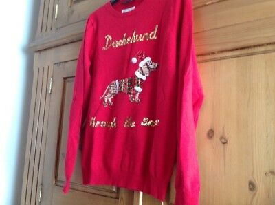 Red Christmas Jumper, With Sequin Dachshund Through The Snow & Dog