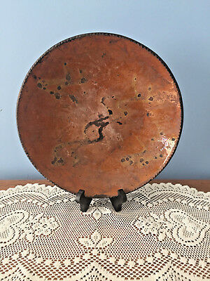 Antique 19th Century Pennsylvania Redware Large Primitive Pie Plate