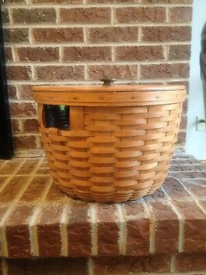 1987 Signed Large Longaberger Corn Basket With Wood Lid and Protecter