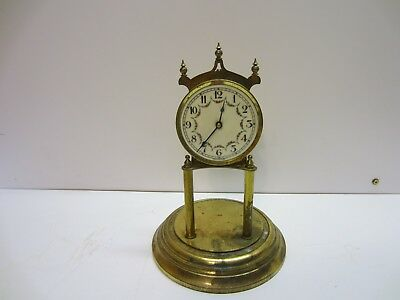Vtg German Kieninger Obergfell Mantel Dome Anniversary Clock Brass Parts Repair