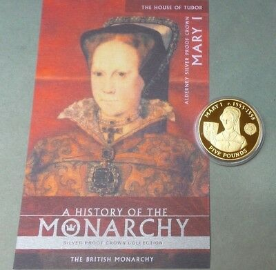 2007 Alderney Silver £5 Coin History Of The Monarchy Mary I With Cert