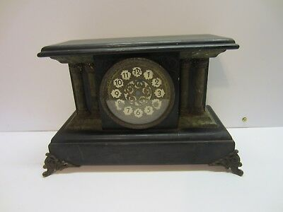 Antique Wood Black Green Footed 4 Column Pillar Mantel Clock Parts Repair