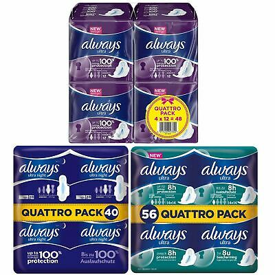Always Ultra Normal Night & Long Sanitary Towels Pads With Wings Pack of 144