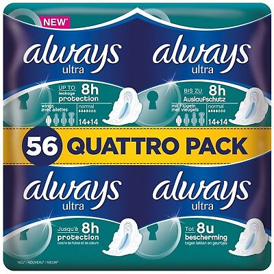 Always Ultra Normal Sanitary Towels Pads Size 1 With Wings Leak Free Pack of 56