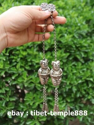 10 CM Chinese Miao Silver Children Girl Boy small Bell Necklace Amulet Pendant