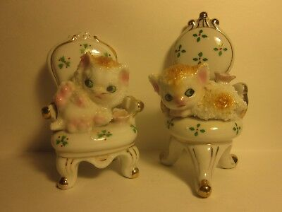 Two yellow Sugared or Spaghetti Kittens Cats on Chairs JAPAN