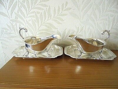 Pair of Vintage Silver Plated Sauce Boats & Stands