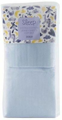 NEW Tesco Pack of 2 Cotton Jersey Fitted Cot Bed Sheets - Blue