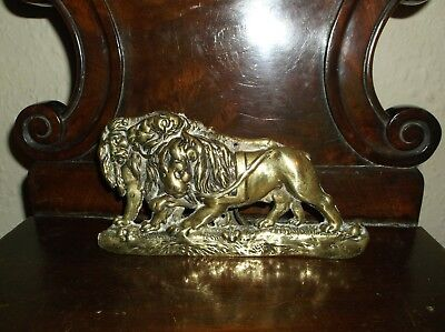 VERY RARE ANTIQUE SOLID BRASS MANTLE ORNAMENT 3 GEORGIAN LIONS IN HARNESS c1800