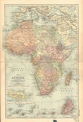 1893 Antique Map - Africa, Madeira, Canary Islands, Mauritius