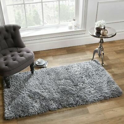 Sienna Shaggy Floor Rug Large Plain Soft Sparkle Mat Thick 5cm Pile Silver Grey