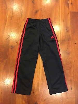Children Youth Unisex Adidas Black Red Striped Athletic Pants size 7.  Pre-owned