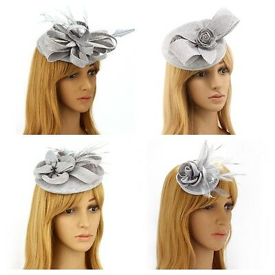 Silver Fascinator Brooch Clip Hat Headband Flower Wedding Ladies Day Races UK