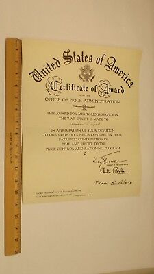 WWII 1945 Office Of Price Administration Certificate Of Award