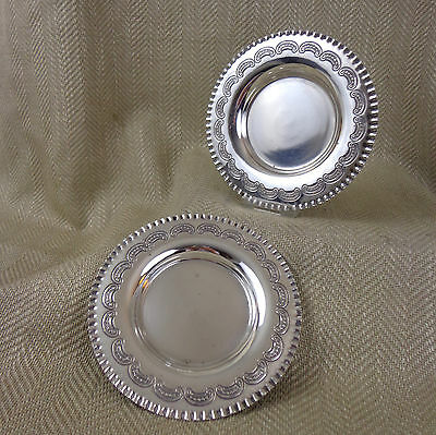 Antique Wine Bottle Coasters Silver Plate Dish Walker & Hall Pair
