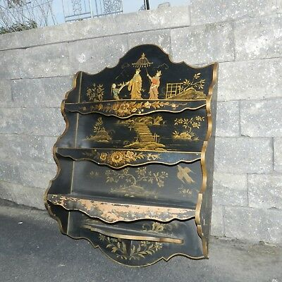 Antique Asian Signed Mandrin Black Gold Chinoiserie Painted Wall Shelf Cabinet
